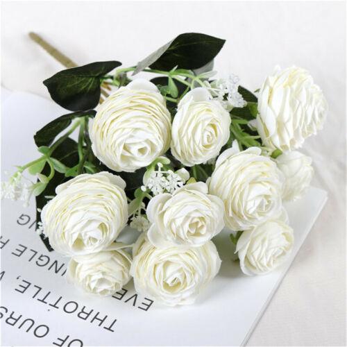 Artificial Silk Rose Flower Bridesmaid Wedding Bouquet Beige Home Party Decor LD