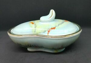 Vtg-Bay-Keramik-Dish-w-Lid-Form-208-Germany-Kidney-Glaze-w-hand-painted-trim