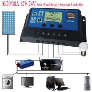 10/20/30A Batterie Solaire Panneau Contrôleur de Charge Régulateur USB 12V/24V
