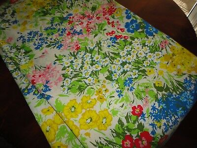 VINTAGE WATERCOLOR GARDEN YELLOW BLUE PINK FLORAL OBLONG TABLECLOTH 58 X 98