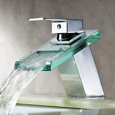 Glass Spout Bathroom Sink Faucet Waterfall One Handle Mixer Tap