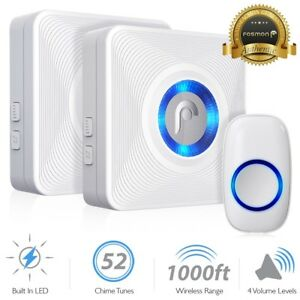 LED-4-Volume-1000FT-Wireless-Doorbell-Chime-2-Plugin-Receiver-1-Transmitter