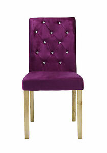 separation shoes a1b5e 03e6d Details about Pair of Amour Velvet Diamante Dining Chairs in Plum / Crushed  Velvet Chairs