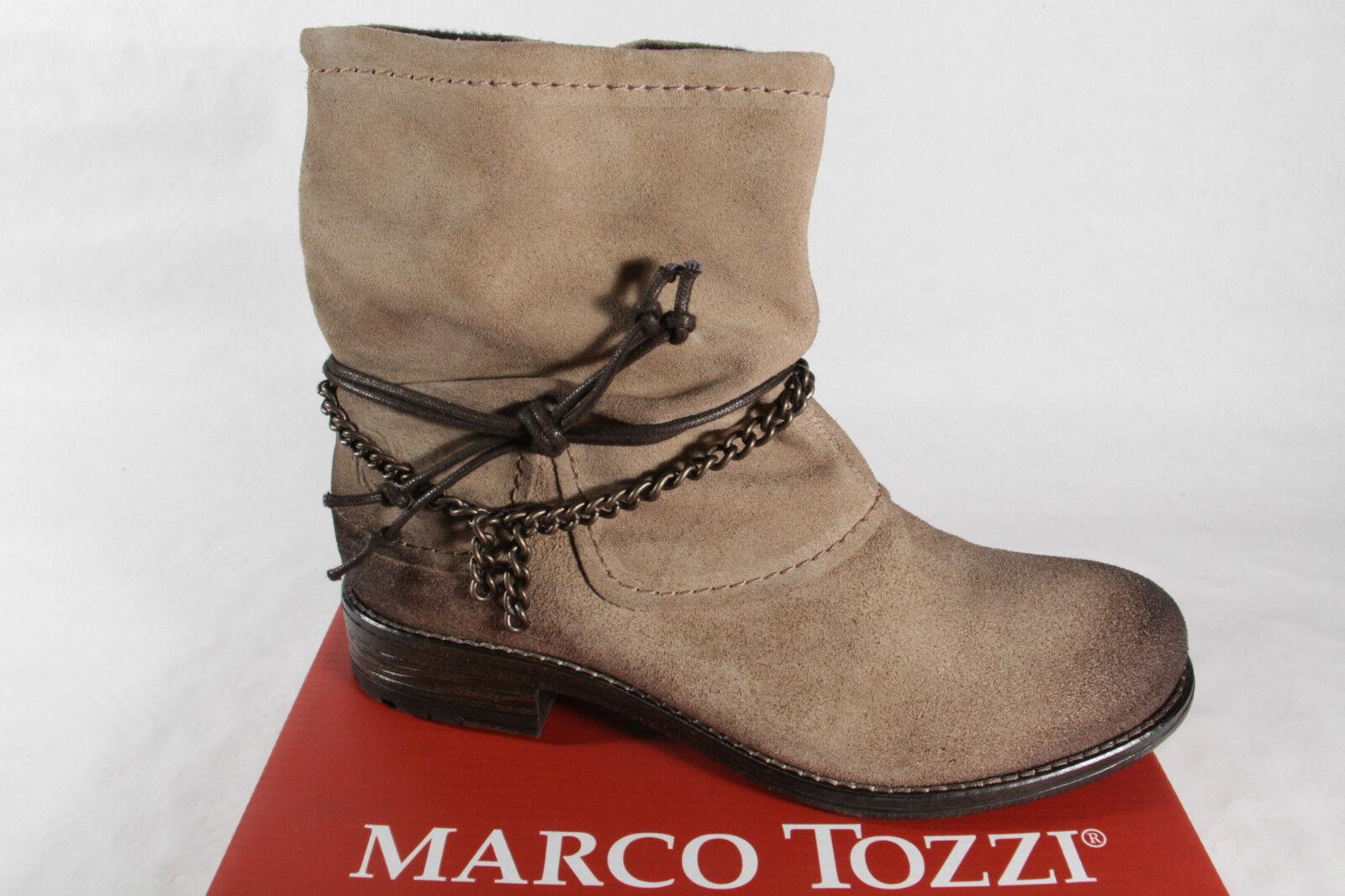 Marco Tozzi Damen Stiefel Stiefeletten Boots Winterstiefel beige Leder 25456 NEU