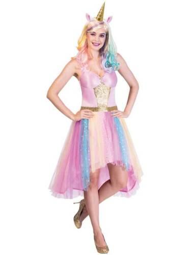 Adults Ladies Rainbow Mystic Unicorn Fancy Dress Costume Magical Fantasy Horse