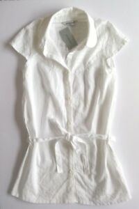ATMOSPHERE-WOMENS-WHITE-SHIRT-BLOUSE-STRIPE-LONG-TIE-CAP-SLEEVE-SIZE-8-NEW