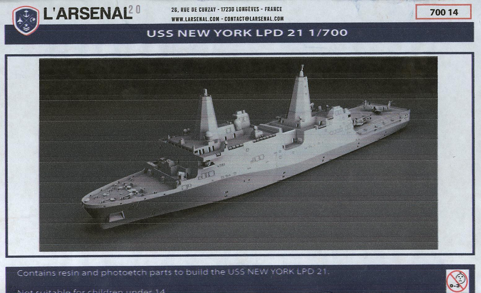 L'Arsenal Models 1 700 U.S.S. NEW YORK LPD 21 Resin & Photo Etch Model