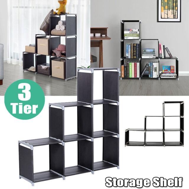 3 Tier Storage 6 Cube Closet Organizer Shelf Cabinet Bookcase DIY Storage  Rack