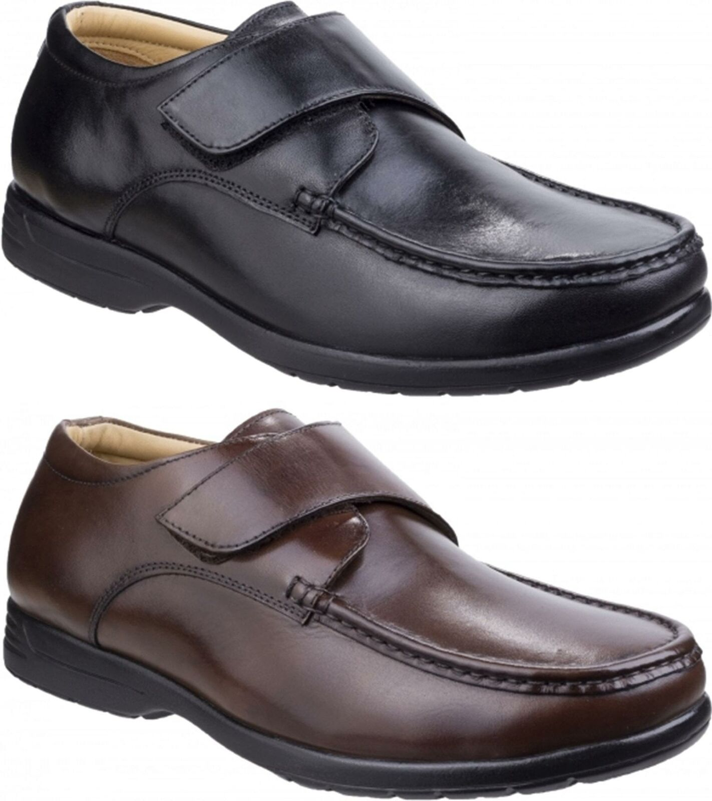 Fleet & Foster Frot Mens Genuine Quality Leather Touch Fasten Casual schuhe
