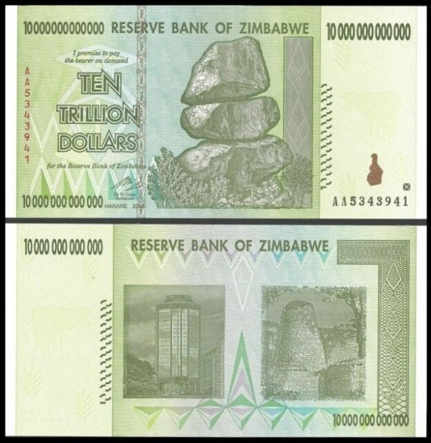 10 Trillion Zimbabwe Dollar Aa Money Currency Circulated Xf 20 50 100