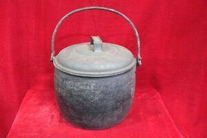 Black-Cooking-Pot-Aluminium-Enamel-Old-Vintage-Kitchenware-PR-44