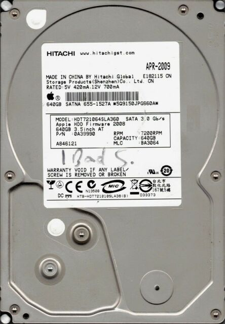 Hitachi HDT721064SLA360 P/N: 0A39990 MLC: BA3064 640GB APPLE 655-1527A