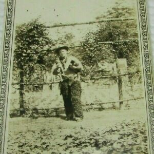 Cowboy Fur Chaps Holding Boston Terrier Dog & Cat 1920s Vintage Photo mb189