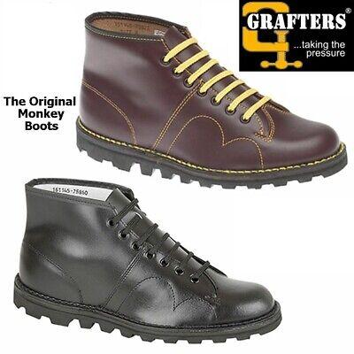 Grafters Unisex Original Retro Monkey Boots Leather BLACk Classic 1960