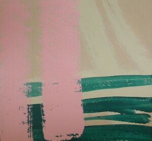 JOSE TRUJILLO Acrylic Painting 8x8 Pink Green ABSTRACT NEW Original Art Color
