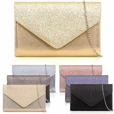 PU Leather Shimmer Glitter Envelope Clutch Women Bridal Prom Party Evening Bags