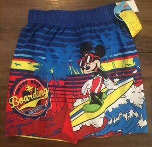 f89d8faddc Disney Mickey Mouse Surf Boarding Boys UPF 50 Swim Trunks Swimsuit ...