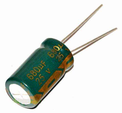 Condensateur électrolytique 25V 680 uF Aluminium Radial Electrolytic Capacitor