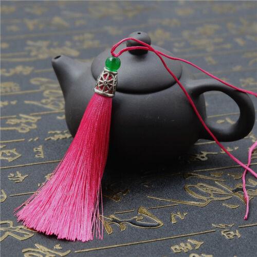 3.5'' Ice Silk Jade Bead Tassel Trim Craft Jewelry Making DIY Pendant 31 Colors