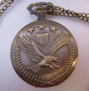 Collectibles Frugal Vintage Style Usa Army Eagle Emblem Pocket Watch & Necklace Chain Military