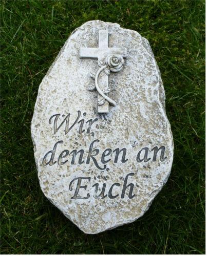 °Grabschmuck Deko Stein mit Kreuz und Rose *Wir denken an Euch* grau-antik 15 cm