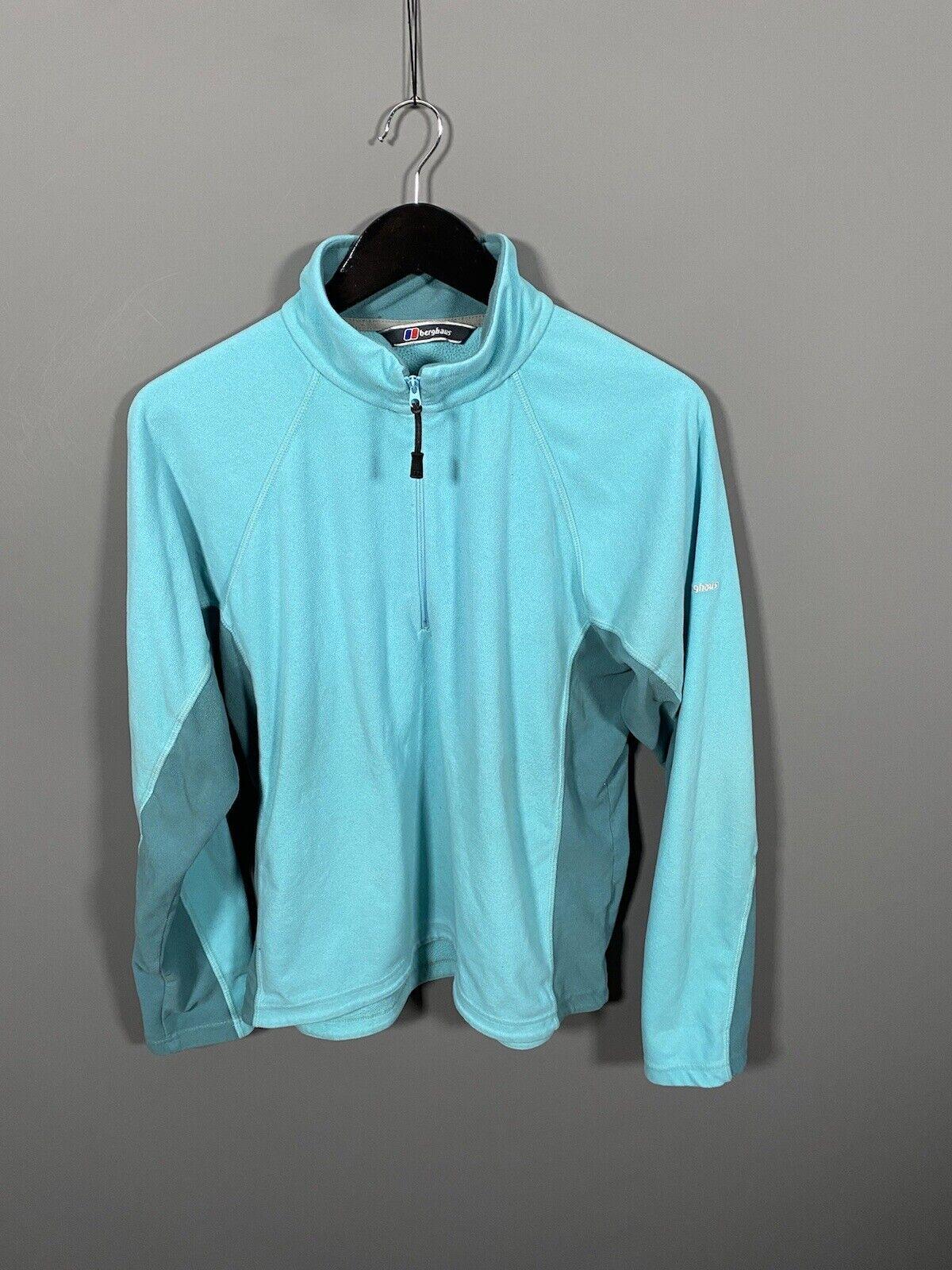 BERGHAUS 1/4 ZIP FLEECE Jacket - UK18 - Turquoise - Great Condition - Women's