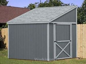 6 39 x 8 39 slant lean to style shed plans building for Slant roof shed