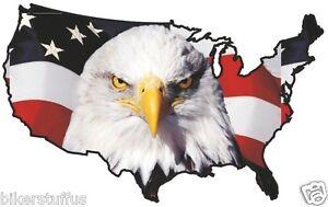 USA EAGLE HEAD STICKER UNITED STATES MAP FLAG BUMPER STICKER - Us map flag