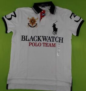 Polo Ralph Lauren Men s BLACKWATCH Polo Shirt Big Pony Logo Custom ... 46cb6d33bc0
