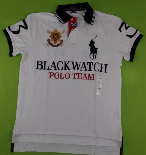 3e732ac109aa7 Polo Ralph Lauren Men s BLACKWATCH Polo Shirt Big Pony Logo Custom Fit Mesh