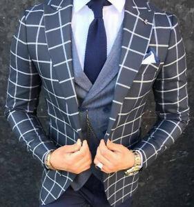 Designer-Gentleman-Herrenanzug-Blau-Weiss-Kariert-Sakko-Weste-Tailliert-Slim-Fit