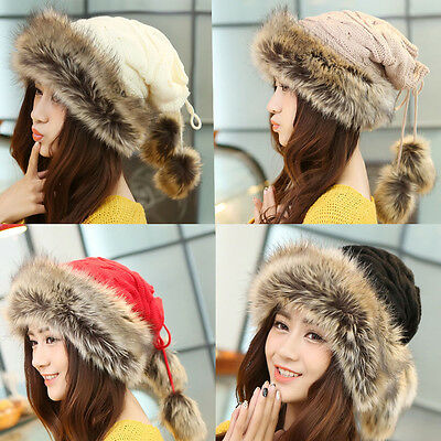 Women Fur Cap Super Warm Hats Girl Knitting Caps Ladies Winter Beanie Wool Hat