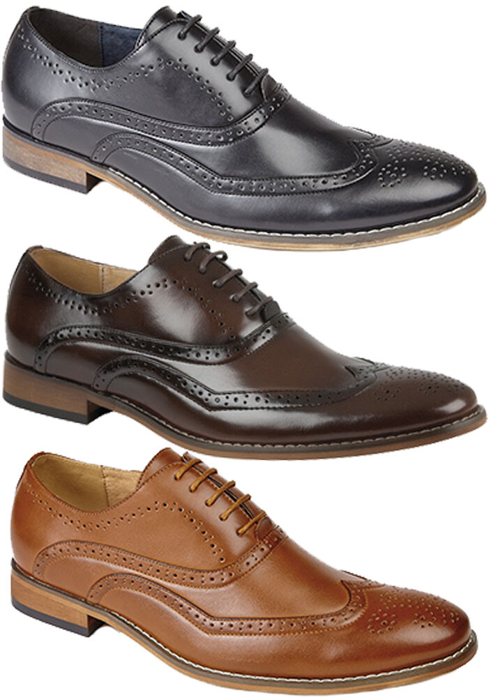 Mens Leather Lined shoes Lace Up Leather Lined Formal Brogues UK 6 - 12
