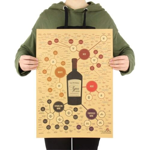 Types of Wine Bar Pub Alcohol Kraft Paper Wall Decor Poster 51*36 cm 20*14 in