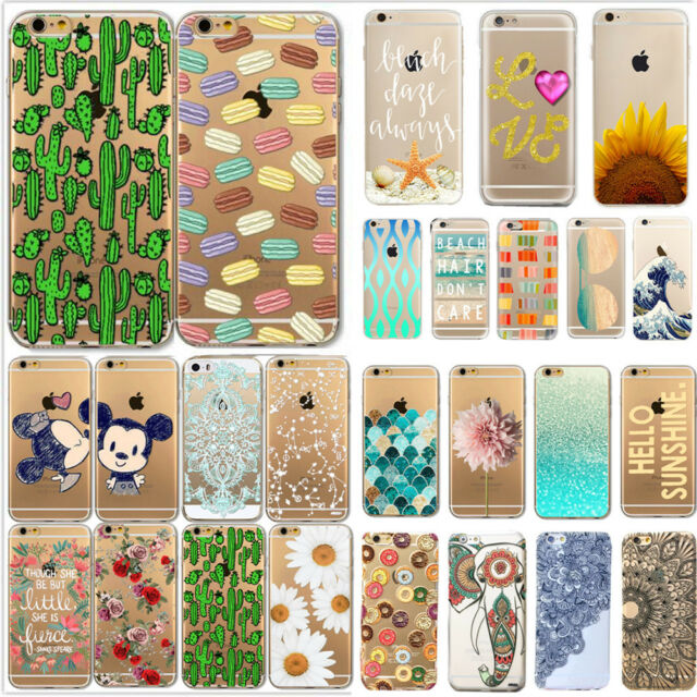 Various Flower Pattern Clear Hard Back Case Cover for iPhone7 5S SE 5C 6 6 7PLUS