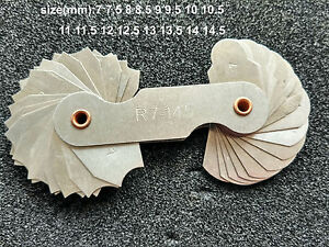 Radius Gauge Fillet R1-6.5mm Concave Convex arc end internal external