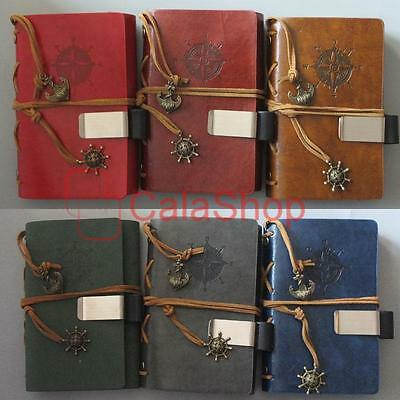 Vintage Compass loose-leaf Leather Travel Diary Book Notebook and Pen Holder SS