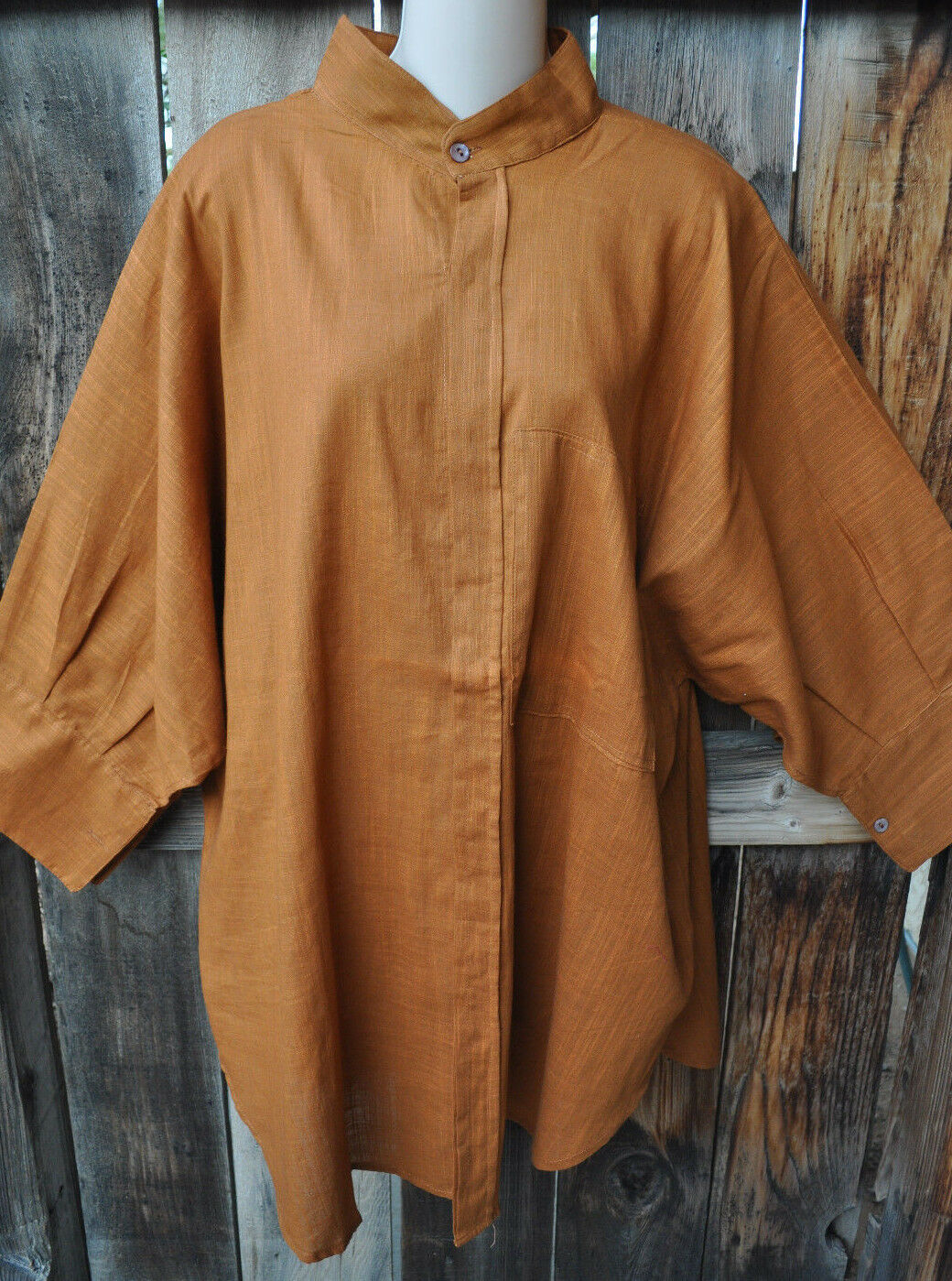 DILEMMA ART TO WEAR HAND WOVEN 100% ORGANIC COTTON BIG SHIRT IN SOLID TOBACCO,OS