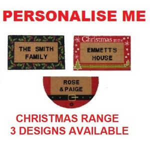 Image Is Loading Personalised Christmas Holly Santa Internal Coir Door Mats