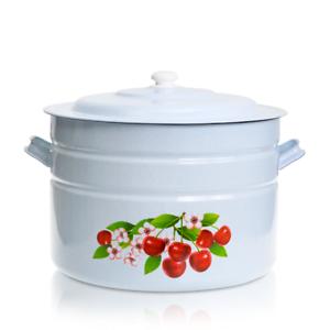 XXXL Behälter mit Deckel emailliert Kirschblüten 40 L Topf Gastronomie Kochtopf
