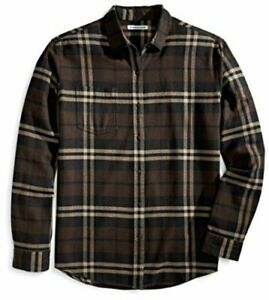 Essentials-Men-039-s-Regular-Fit-Long-Sleeve-Plaid-Brown-Plaid-Size-Small
