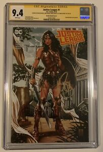 Dc-Comics-Justice-League-1-Cgc-9-4-Signed-4x-Comic-Sketch-Art-Brooks-Cover-A