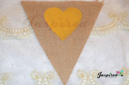Love coeur Bunting Bannière de Hesse pastel mariage décor rustique maison de réchauffement