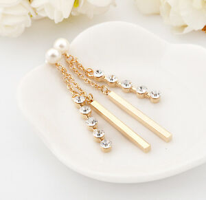 Ladies-18K-Gold-Filled-Pearl-Crystal-Long-Bar-Drop-Dangle-Stud-Earrings-Wedding