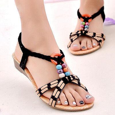 New Summer Women Bohemia Flat Shoes Beach Sandals Slippers Flip Flops