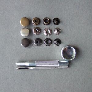 100 Press studs Tool 15mm cap heavy duty popper fastener black silver gold