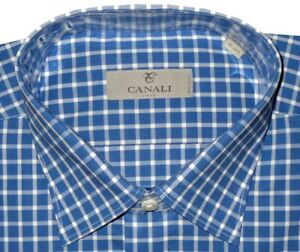 345-NEW-CANALI-BLUE-amp-WHITE-GRID-CHECK-DRESS-SHIRT-MADE-IN-ITALY-EU-42-16-5