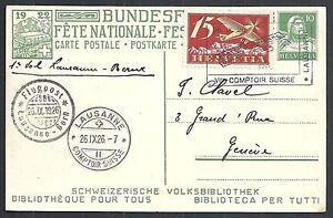 Switzerland covers 1926 1st Flight Lausanne-Bern on Bundesfeirer PPC