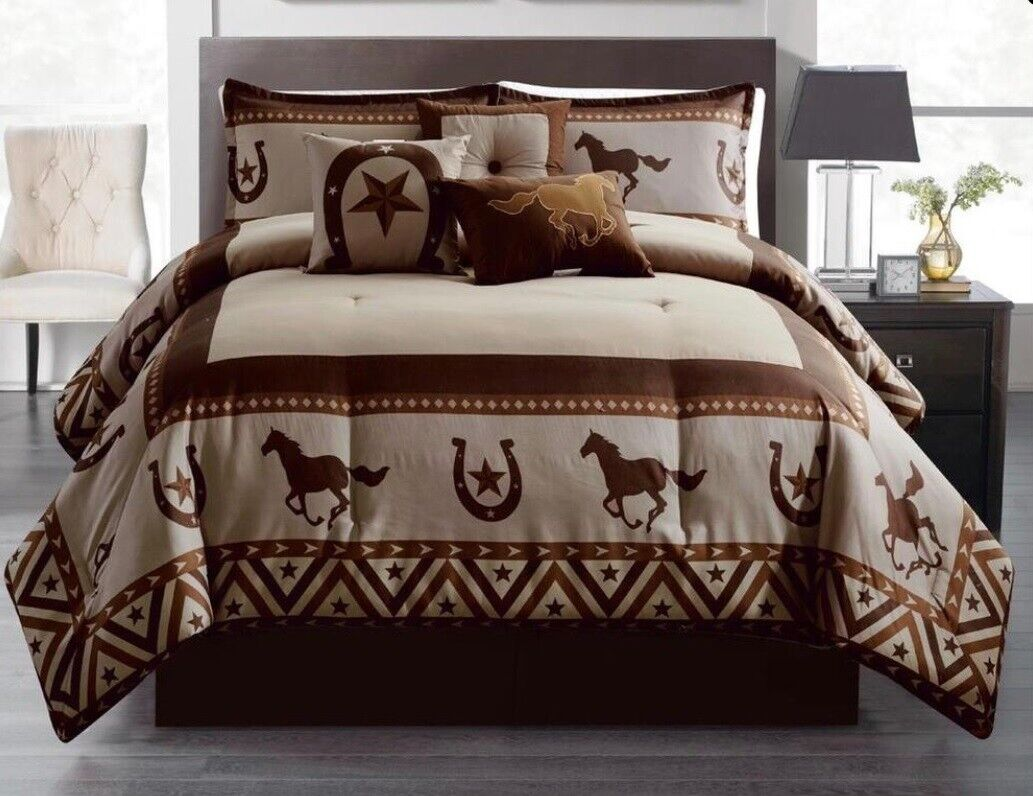 7 Piece Comforter Texas Western Horses Star Bedspread Soft Luxury Set Queen,King