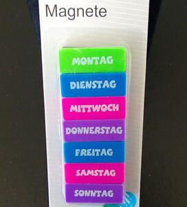 7 k hlschrankmagnete wochentage set k hlschrankmagnet pinnwand magnete neu ebay. Black Bedroom Furniture Sets. Home Design Ideas